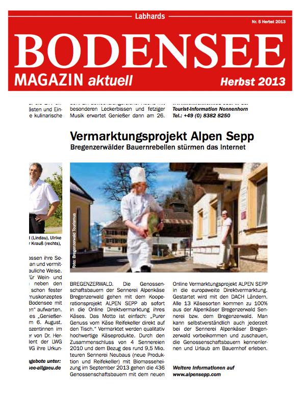 Alpen Sepp im Bodensee Magazin, Nr. 5, Herbst 2013