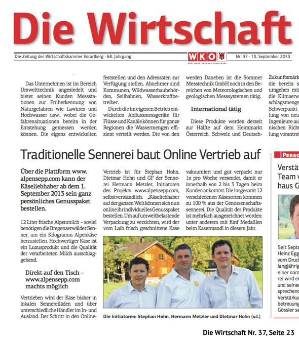 """Alpen Sepp in """"Die Wirtschaft"""" Nr. 37 vom 13. September 2013"""