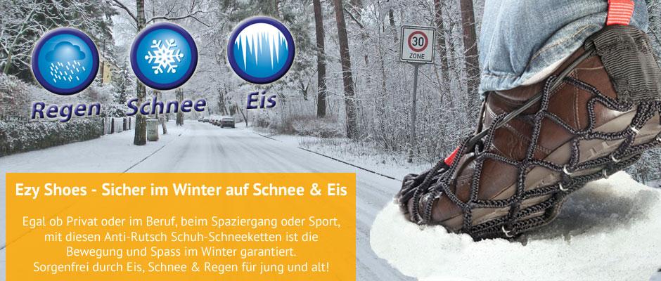 Ezy Shoes sind Schneeketten für Ihre bequemen Sport- und Winterschuhe