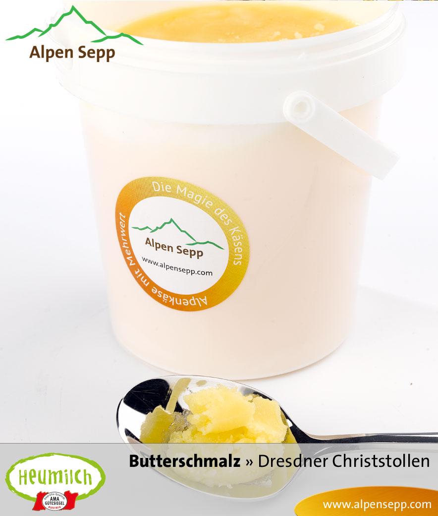 Premium Butterschmalz aus Heumilch in Alpen Sepp's Dresdner Christstollen