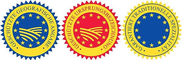 Die drei EU Schutzsiegel