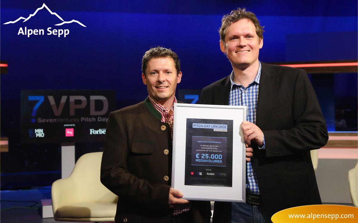 Alpen Sepp holt den ersten Platz beim Seven-Ventures-Puls4 Pitch Day in Wien!