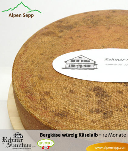 Bregenzerwälder Bergkäse würzig, 12 Monate, Sennerei Rehmen, Käselaib