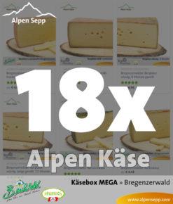 MEGA Käsebox mit 18 Stück Alpen Käse vom Alpen Sepp