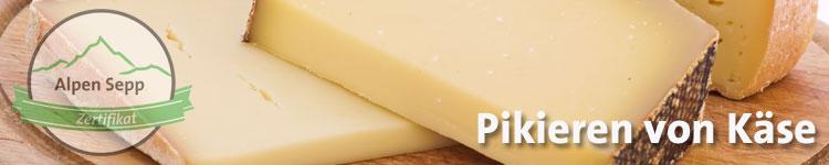 Pikieren von Käse im Käse Wiki vom Alpen Sepp