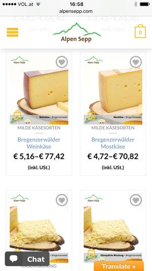 Alpen Sepp auf dem Smartphone