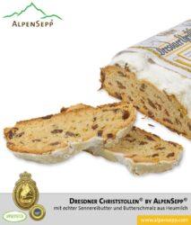 ORIGINAL Dresdner Christstollen ® by AlpenSepp® | 1,5 kg Stollen mit echter Sennereibutter und Butterschmalz (Ghee) aus Heumilch® | Exklusiv auf Vorbestellung
