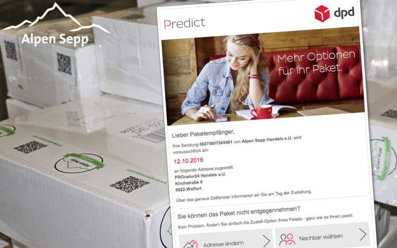 Alpen Sepp versendet mit Predict von DPD