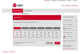 DPD Predict Neuer Termin für Paketzustellung vereinbaren