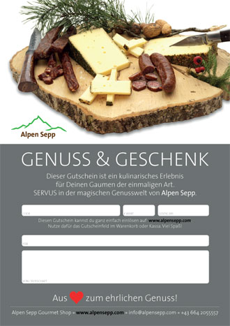 Gutschein Jausenplatte Design